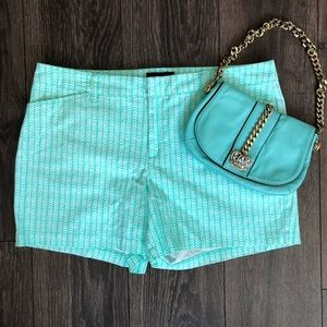 Seafoam Green & White Design Stretchy Shorts
